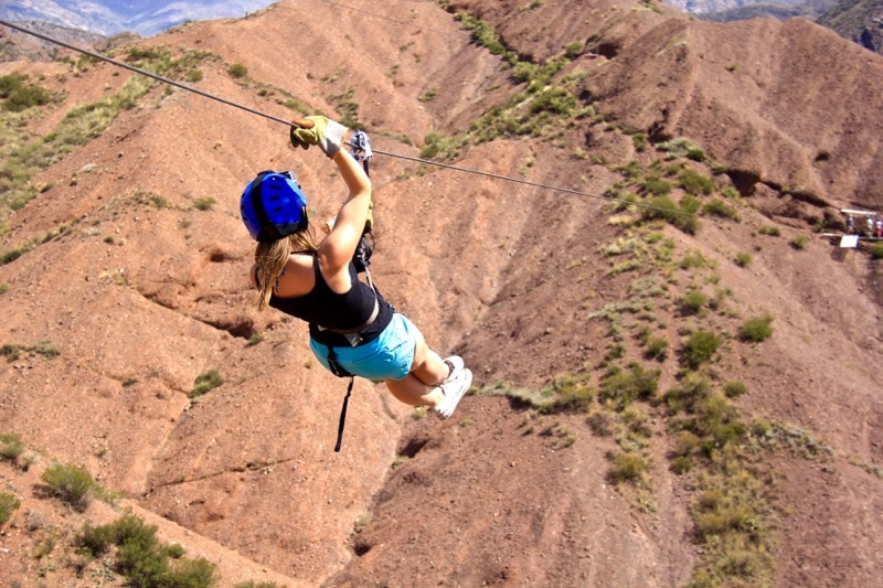 Ziplining through the Andes in Argentina