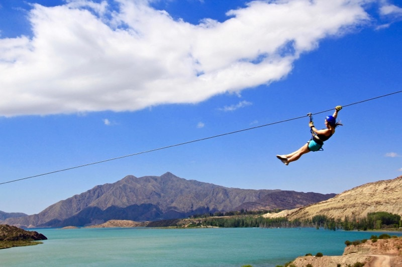 Ziplining over Lake Potrerillos in Argentina