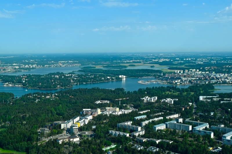 View from a Cessna flight over Helsinki