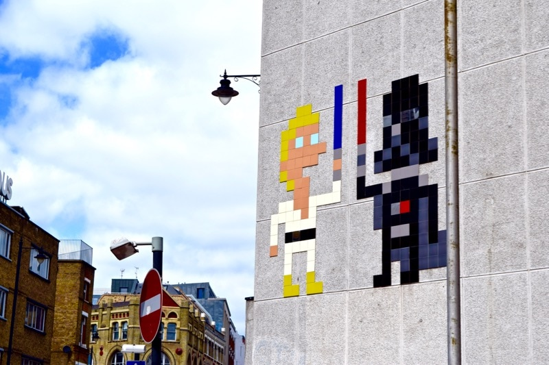 Invader's take on Space Invaders, Sidestory Street Art Tour, London