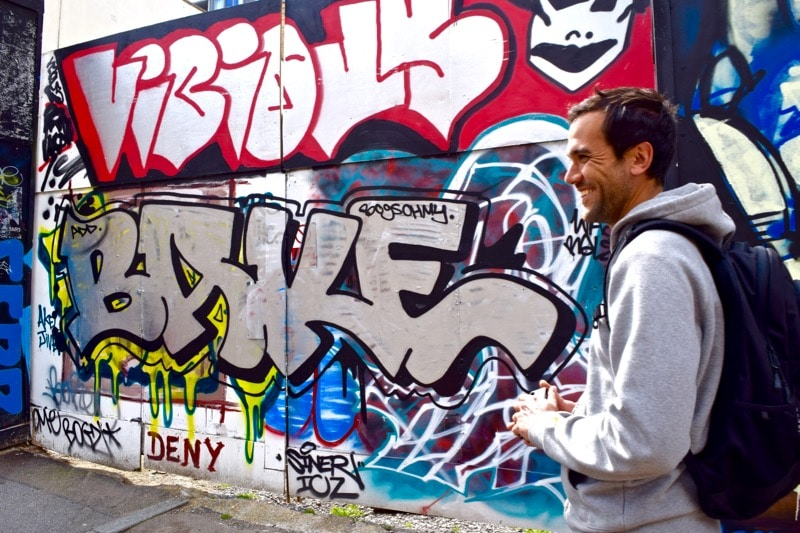 Karim - our guide on the Sidestory Street Art Tour, London