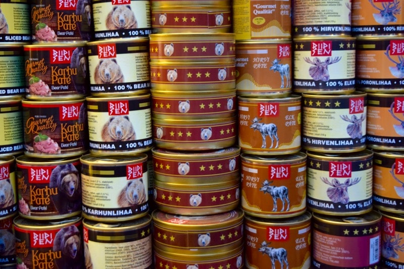 Bear meat in a can in the Old Market Hall, Helsinki