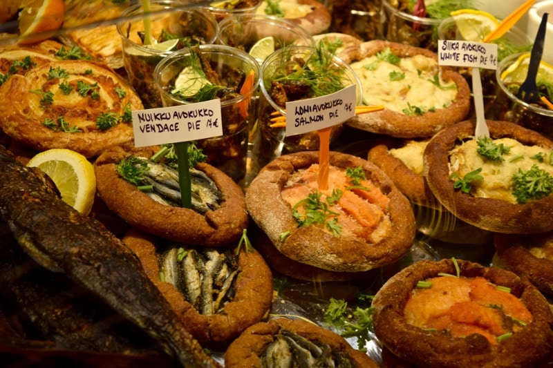 Salmon dishes for sale in the Old Market Hall, Helsinki