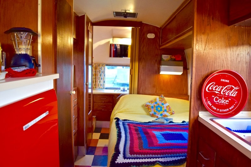 Interior of our Airstream at Vintage Vacations, Isle of Wight