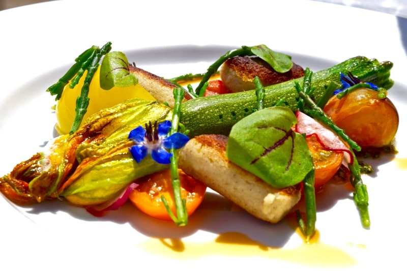 Stuffed courgette flower at The Seaview Hotel Restaurant