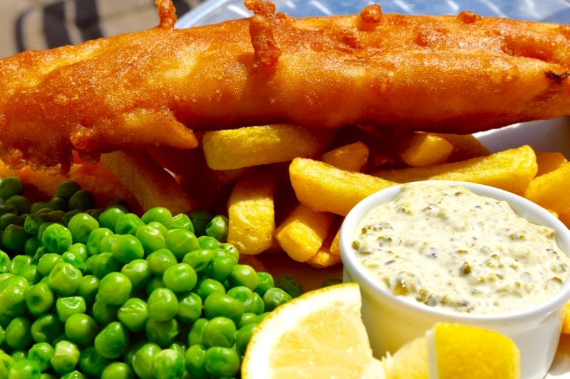 Fish and chips at The Seaview Hotel Restaurant