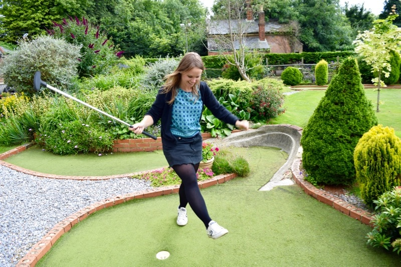 Playing crazy golf on the Isle of Wight