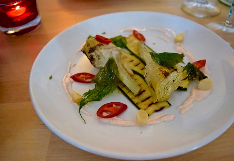 Courgette and Jerusalem artichoke at Three Buoys, Ryde, Isle of Wight