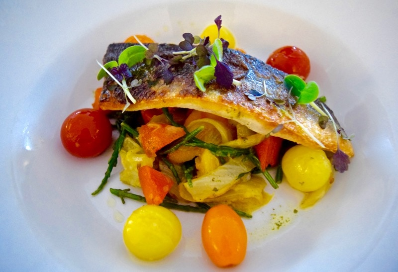 Sea bass with IOW heritage tomatoes, sweet potato and fennel at Three Buoys, Ryde, Isle of Wight