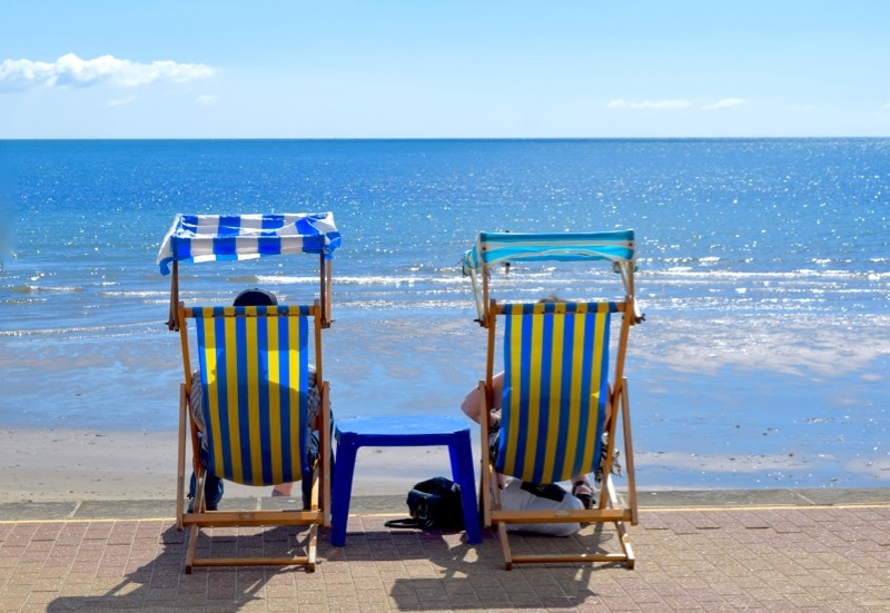 Classic British holiday on Shanklin Beach, Isle of Wight