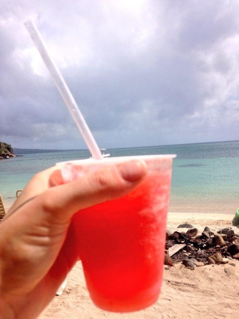 Frozen strawberry daiquiri at Reggae Beach Bar, St Kitts