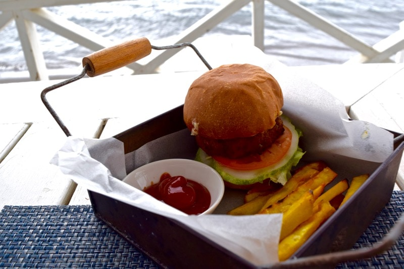 Seafood burger at Arthur's Restaurant, St Kitts