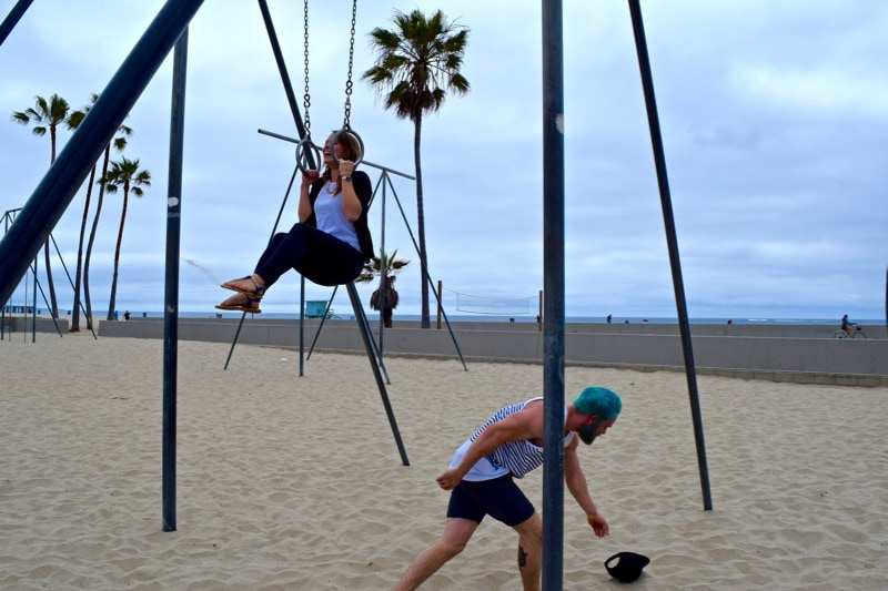 Attempting to work out on Muscle Beach, L.A.