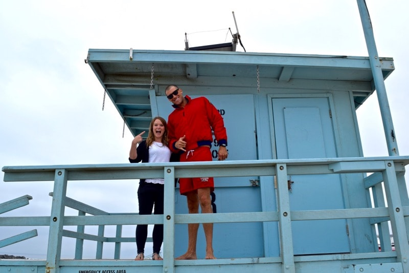 Iconic beach huts, and gigantic lifeguards on Venice Beach, L.A.