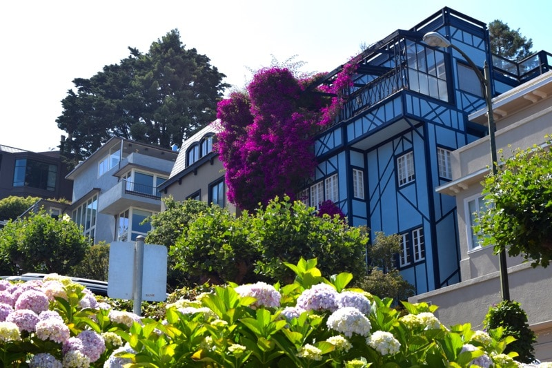 A beautiful house on the most crooked street in the world - Lombard Street, San Francisco