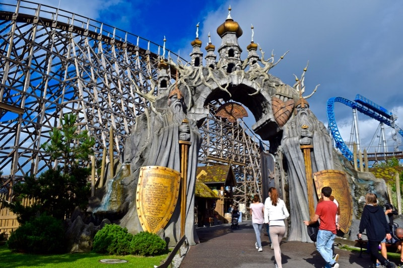 Entrance to Wodan wooden rollercoaster at Europa-Park, Germany