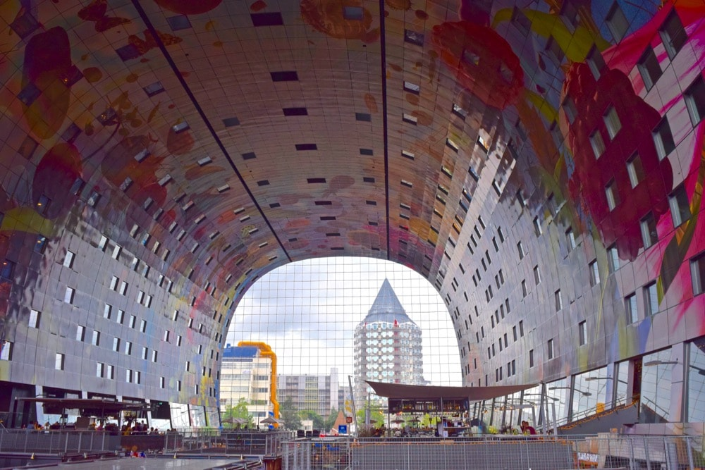 Inside looking out of Markthal, Rotterdam