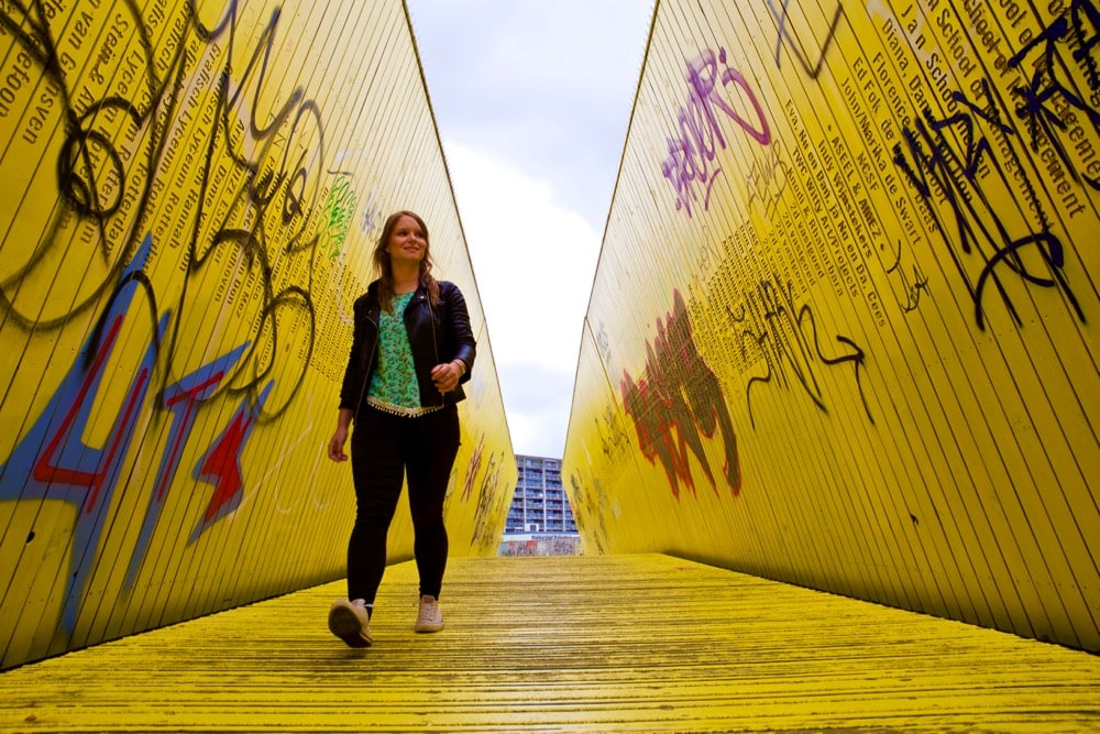 Walking down the Luchtsingel (yellow bridge) in Rotterdam