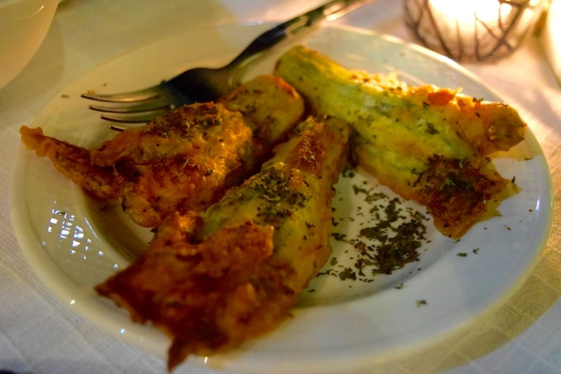 Halloumi stuffed courgette flowers at Apokryfo Hotel, Cyprus