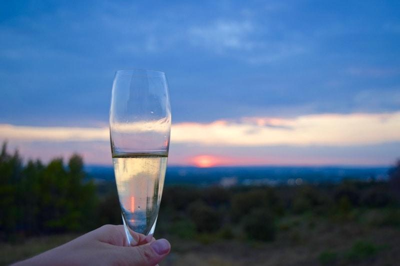Champagne at sunset in Saint-Saturnin-lès-Avignon, Provence