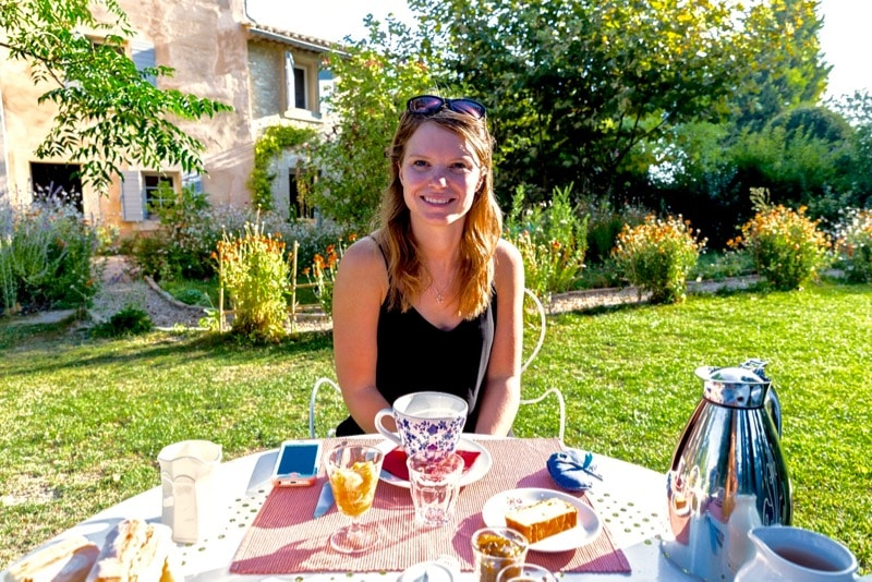 Enjoying breakfast at Le Coeurisier, Provence