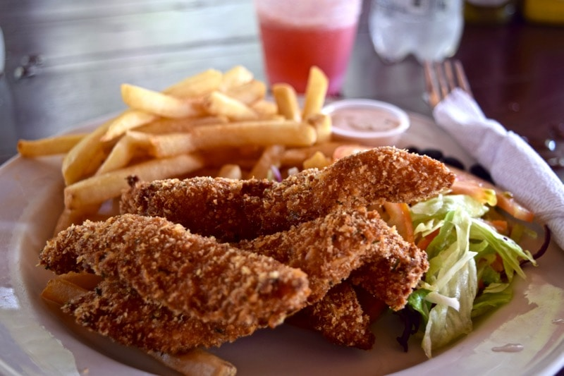 Fried chicken at Reggae Beach, St Kitts