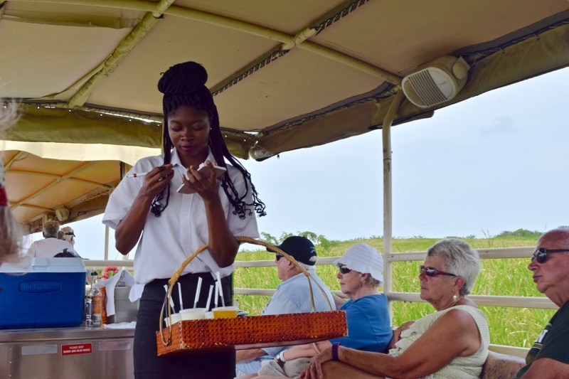 All inclusive bar on the St Kitts Scenic Railway