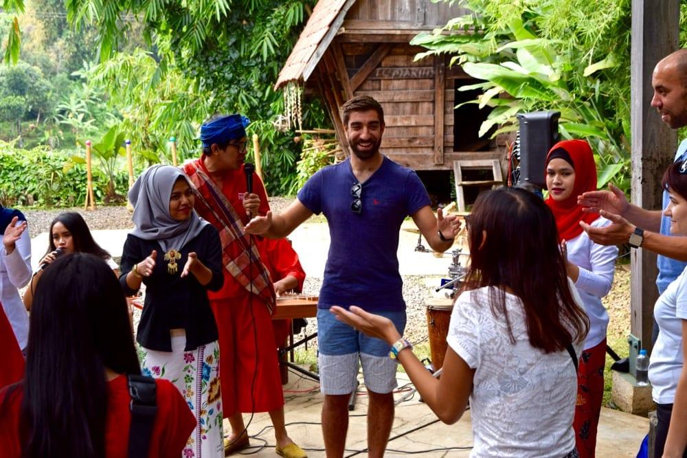Playing games with Komunitas Hong, Bandung, Indonesia
