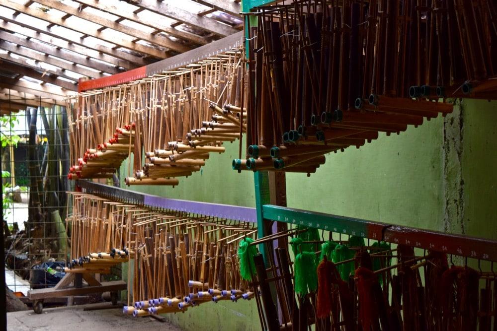 Rows of anklungs at Anklung Udjo, Bandung, Indonesia