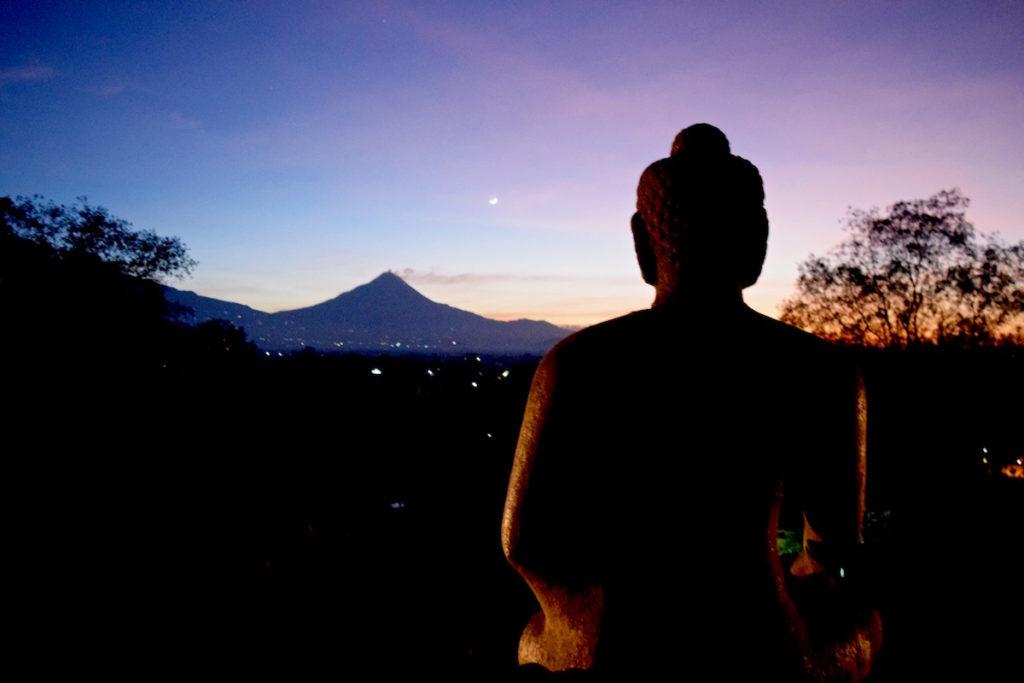 Just starting to get light at Borobudur, Indonesia