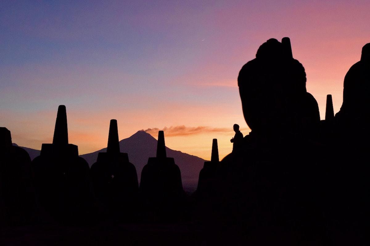 Colourful morning sky at Borobudur, Indonesia
