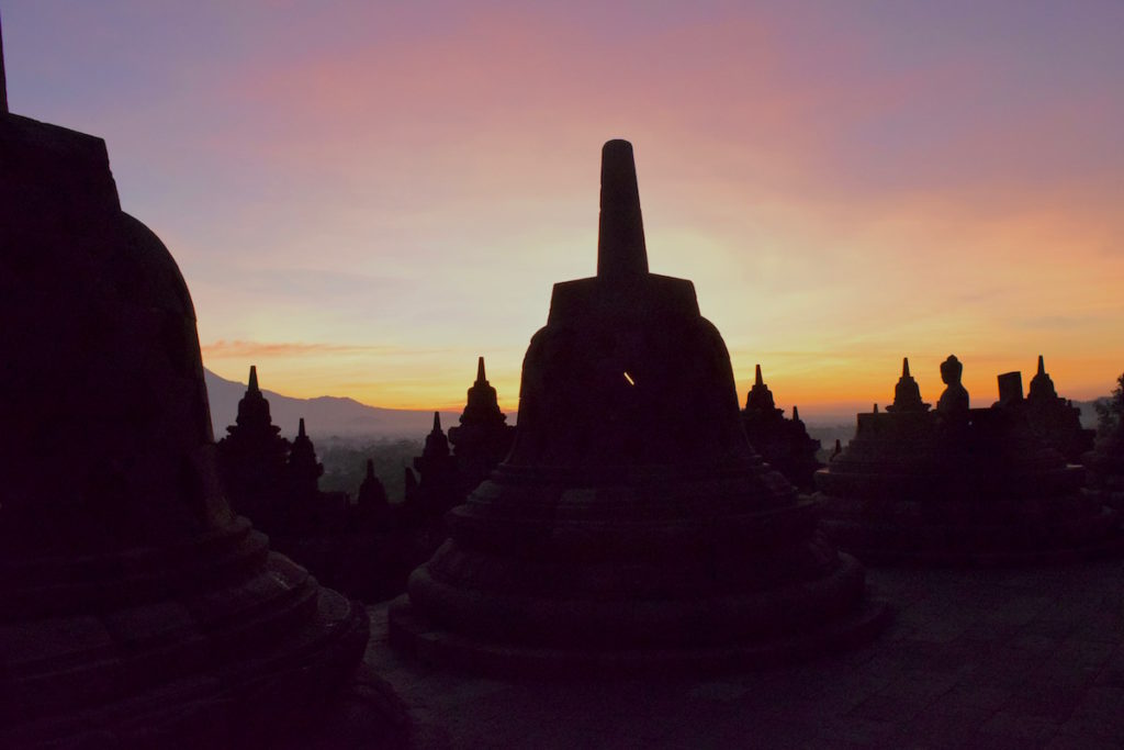 Just starting to get light at Borobudur, Indonesia