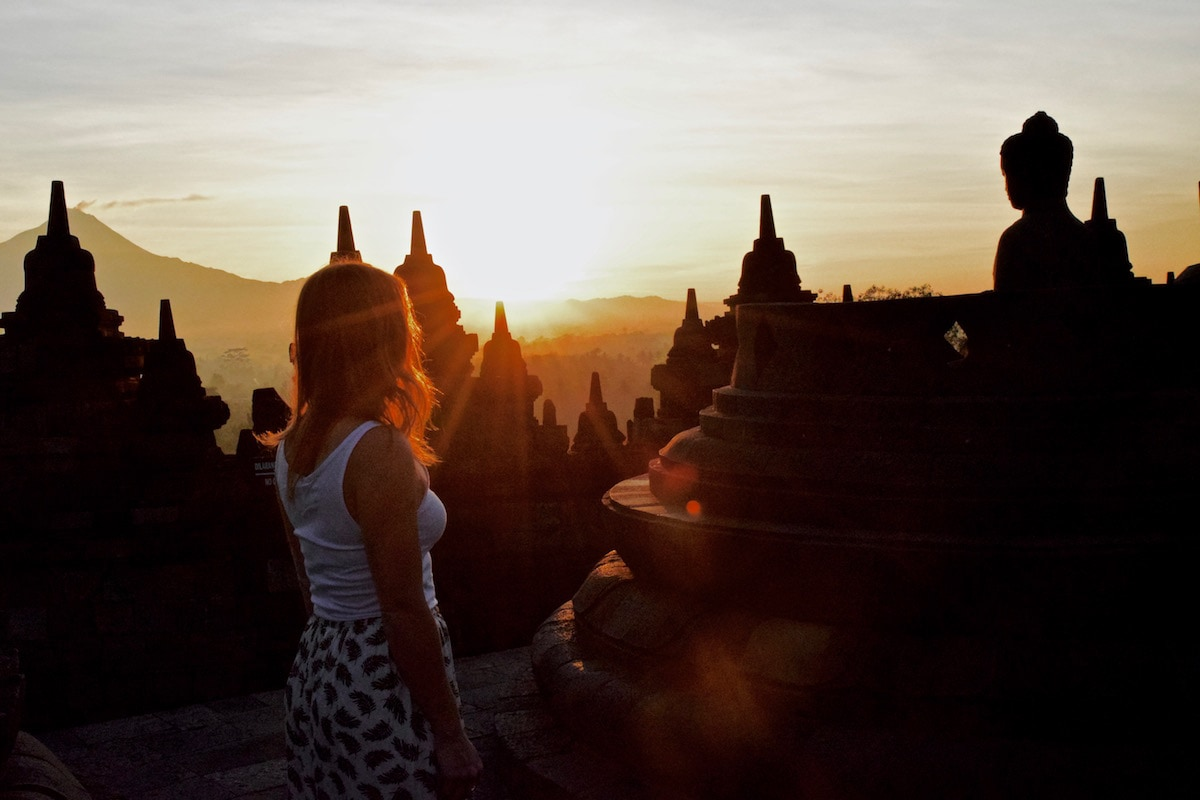 Enjoying sunrise at Borobudur, Indonesia