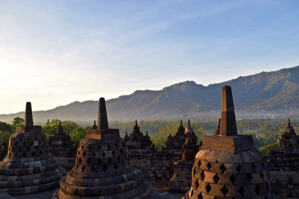 Beautiful mist over the jungle at Borobudur, Indonesia