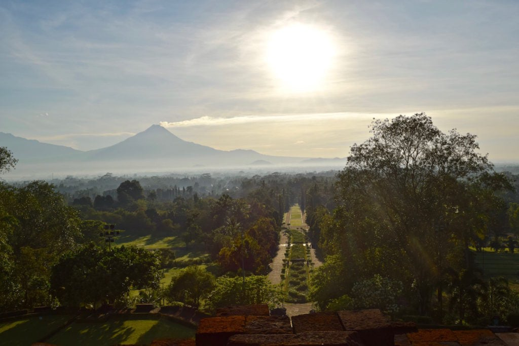 Sunrise views from Borobudur, Indonesia