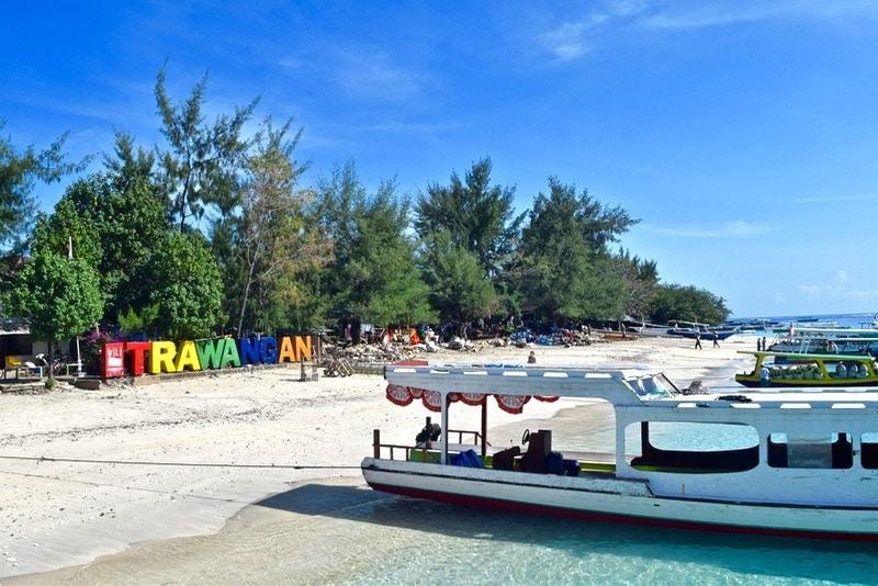 Beach area where the boats arrive on Gili T