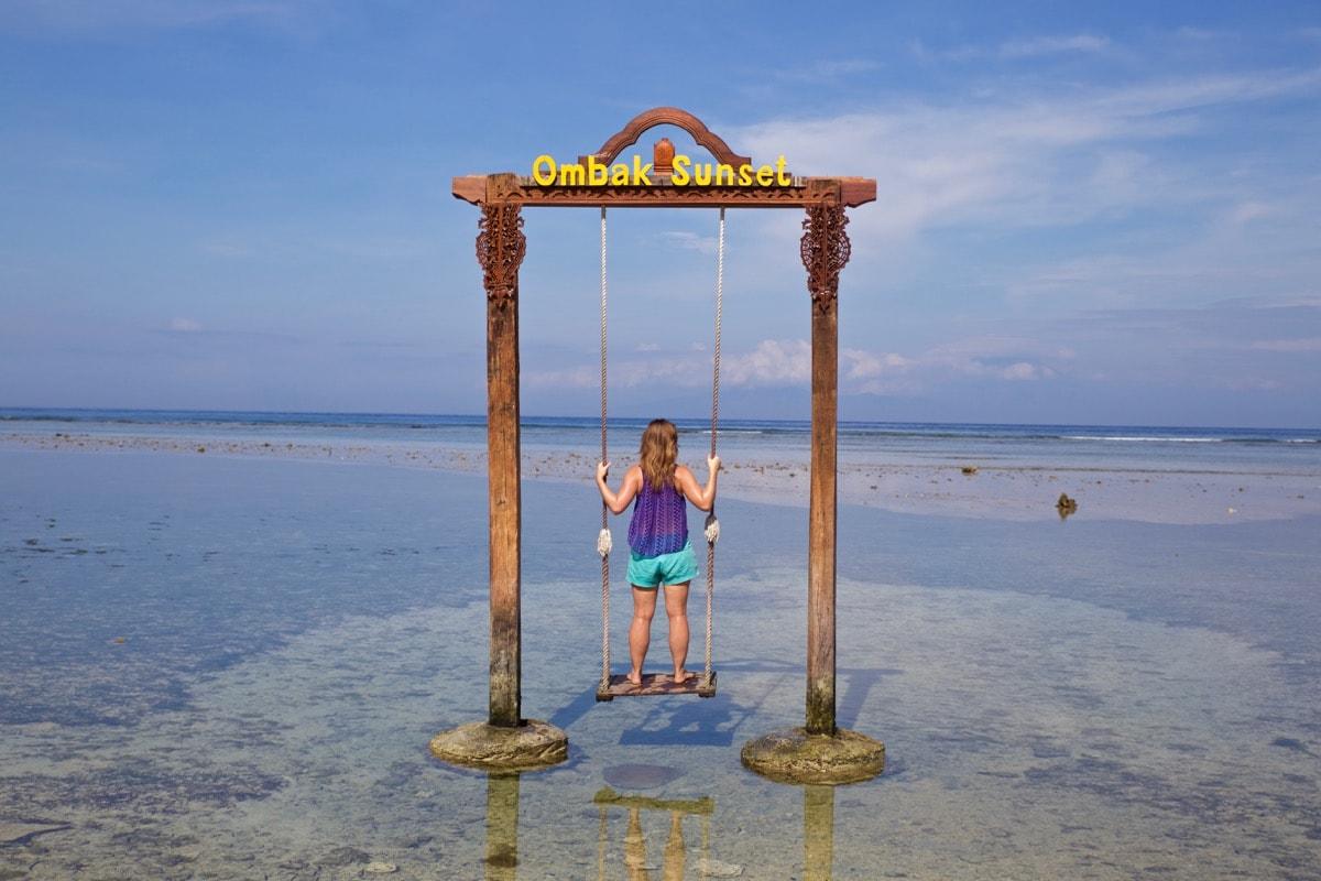 Enjoying the swing at Hotel Ombak Sunset, Gili T