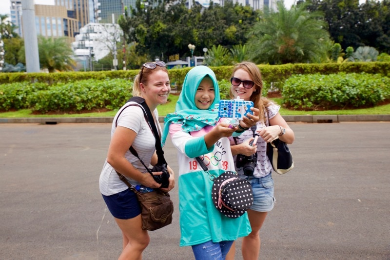 Being asked for selfies at Jakarta's National Monument