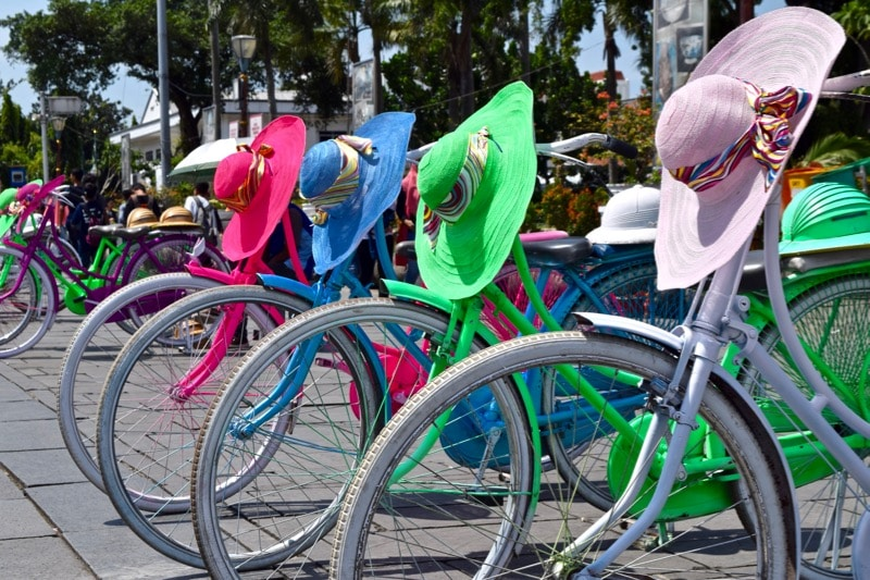 Multicoloured bicycles in Kota, Jakarta