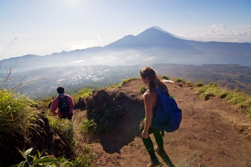 Starting our descent... Beautiful views of Mount Agung from the top of Mount Batur, Bali