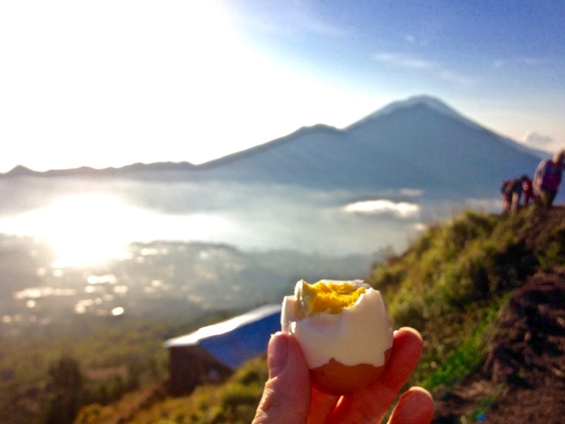 Boiled eggs cooked in the steam of Mount Batur, Bali