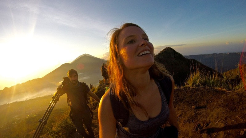 Hiking Mount Batur in Bali at sunrise