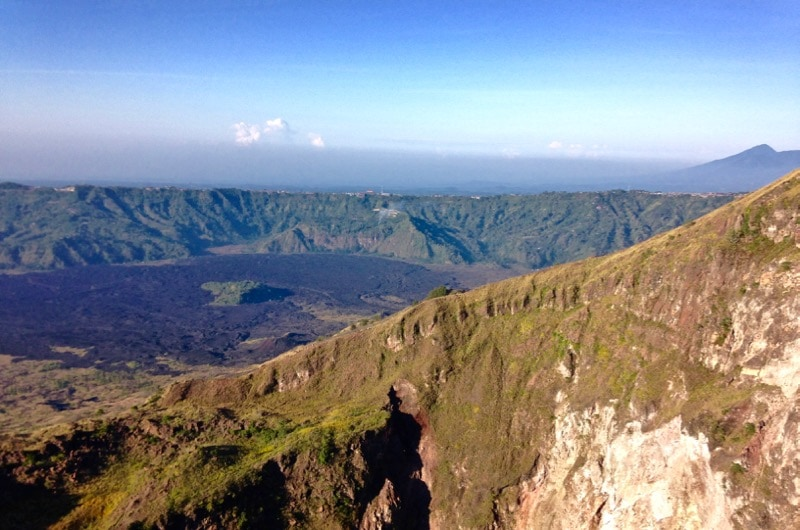 Beautiful views of Mount Agung from the top of Mount Batur, Bali