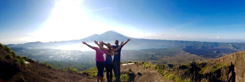 With Macca and Emily on Mount Batur, Indonesia