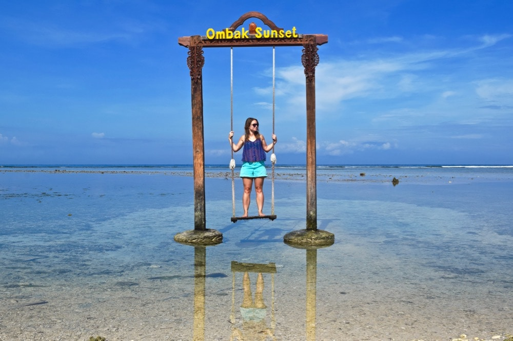 Enjoying the famous Datu Swing at Hotel Ombak Sunset, Gili T