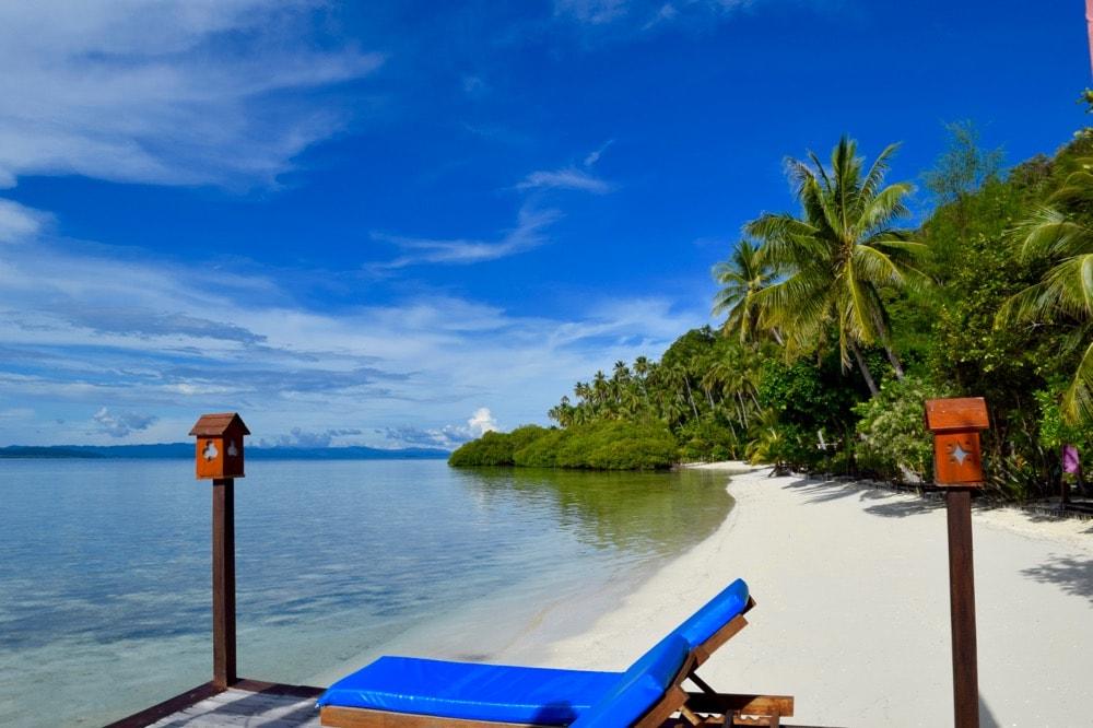 Perfect beach scene in Raja Ampat, Indonesia