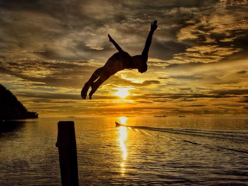 Perfect sunset in Raja Ampat, Indonesia