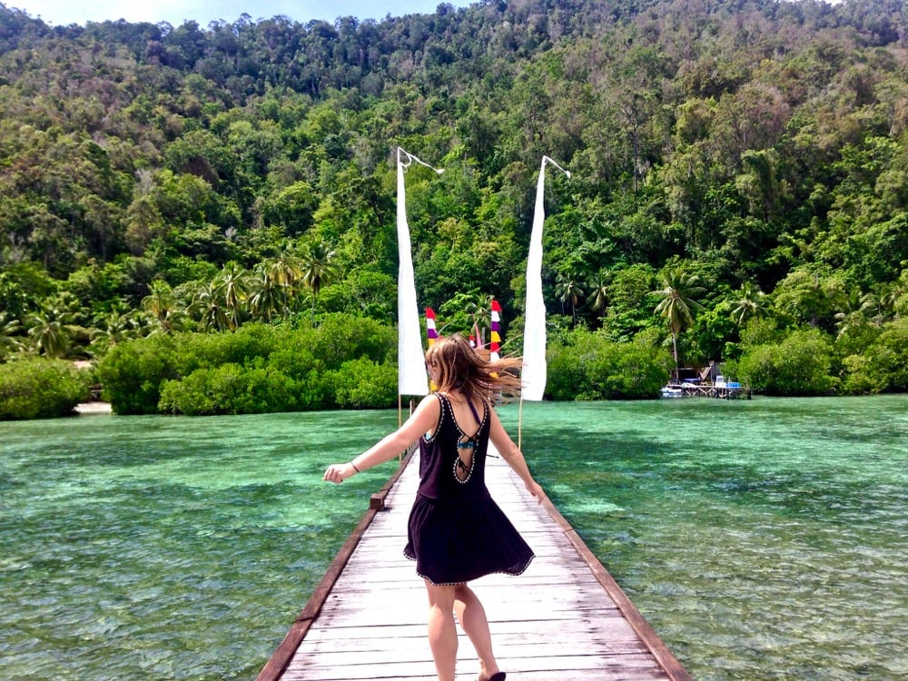 Frolicking on the pier at Raja Ampat Dive Lodge, Indonesia