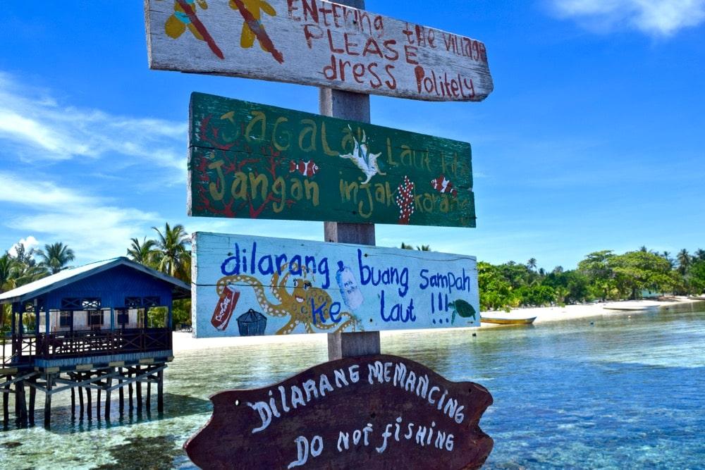 Sign at Arborek Village, Raja Ampat