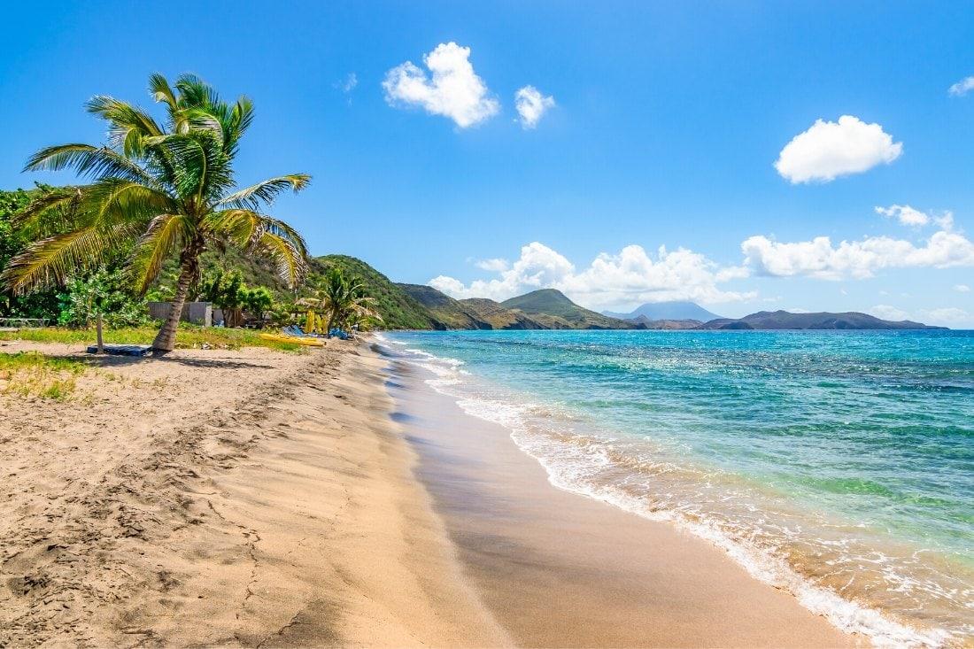 Beautiful beach in St Kitts, Caribbean